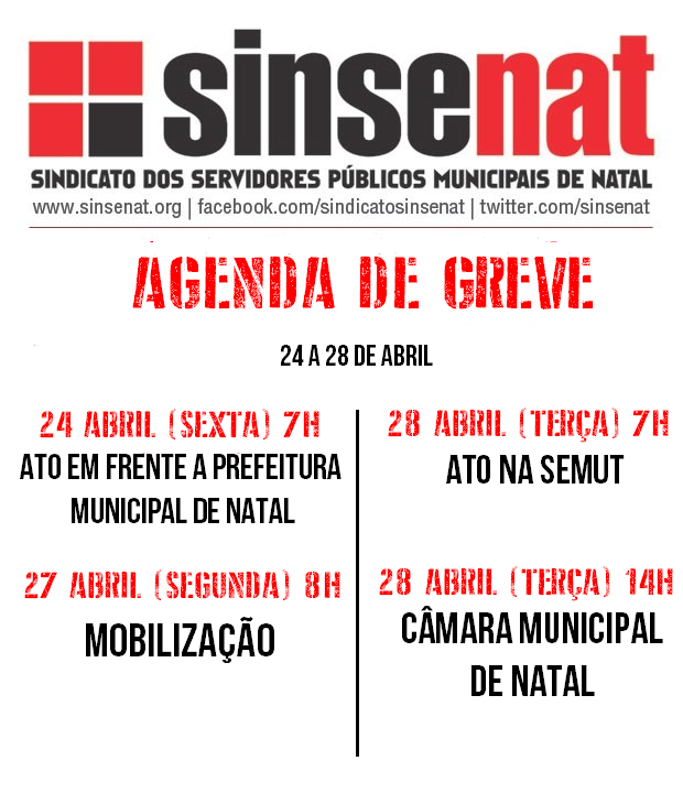 AGENDA DE GREVE 24 A 28 DE ABRIL