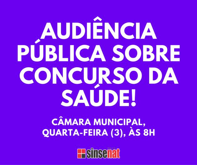 É AMANHÃ!audiência pública sobre concurso da saúde!