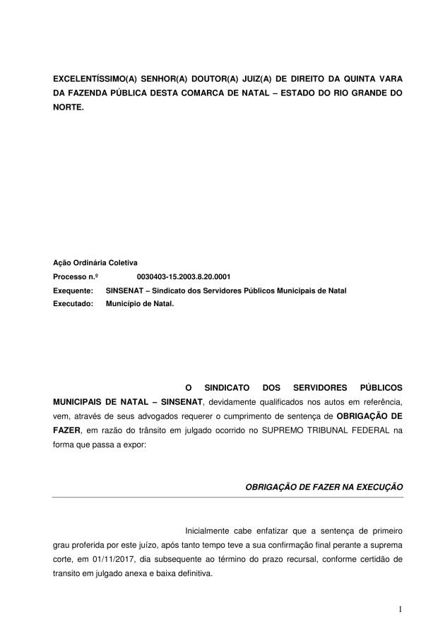 000 - pedido de execução contra o município - pedido de obrigação de fazer EXECUÇÃO PROVISORIA 2017-1